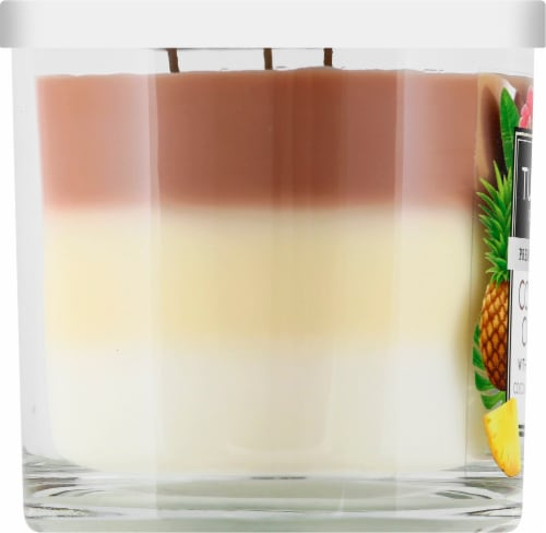 Tuscany Candle Coconut Colada Scented Triple Pour Jar Candle Perspective: left
