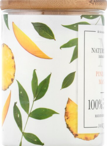 Nature's Own Pineapple Mango Soy Wax Candle Perspective: left