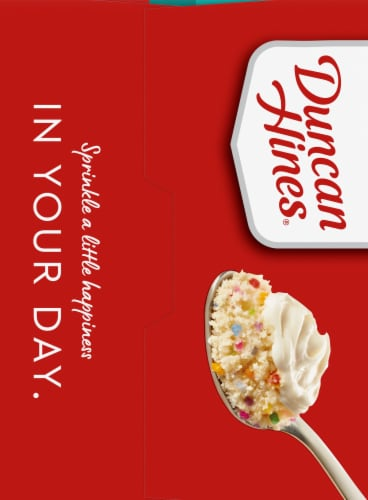 Duncan Hines Confetti Cake with Vanilla Frosting Mug Mix 4 Count Perspective: left