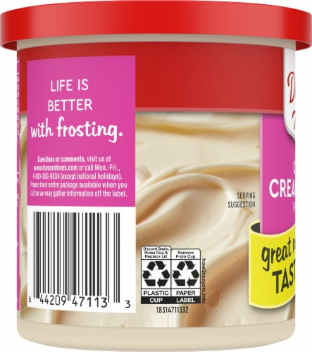 Duncan Hines Creamy Cream Cheese Frosting Perspective: left