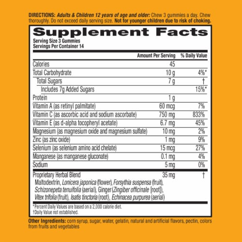 Airborne Assorted Fruit Flavor Vitamin C 750mg Immune Support Supplement Gummies Perspective: left