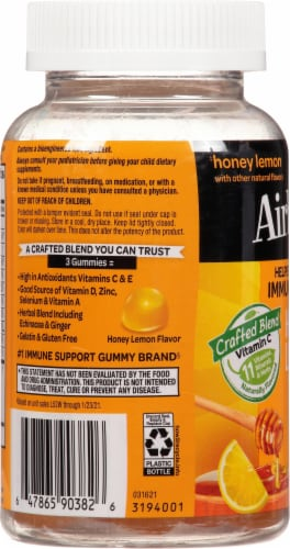 Airborne Honey Lemon Immune Support Supplement Gummies Perspective: left