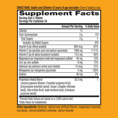 Airborne Citrus Vitamin C 1000mg Immune Support Supplement Chewable Tablets Perspective: left