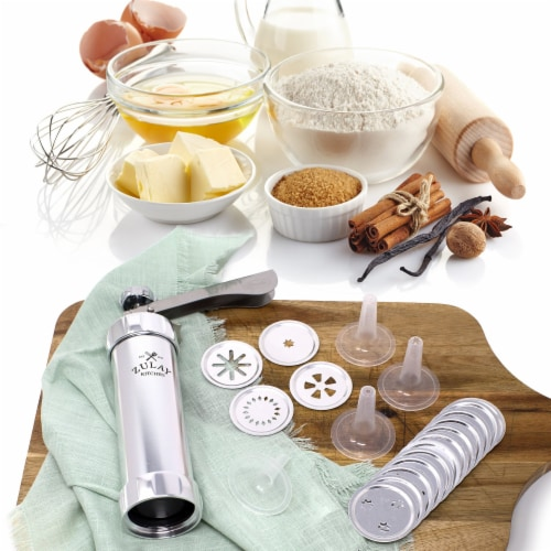 Zulay Kitchen Classic Cookie Press with 20 Decorative Stencil Discs and 4 Icing Tips Perspective: left