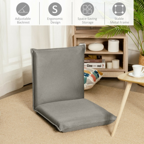 Gymax Adjustable 6-Position Floor Chair Padded Folding Lazy Sofa Chair Grey Perspective: left