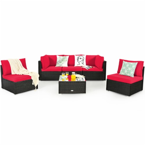 Gymax 6PCS Rattan Outdoor Sectional Sofa Set Patio Furniture Set w/ Red Cushions Perspective: left