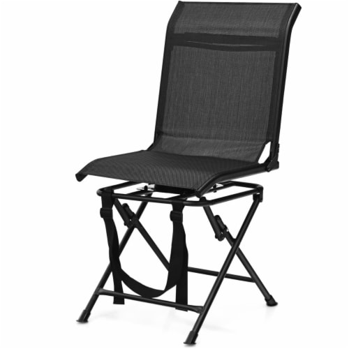 Gymax Folding 360° Silent Swivel Hunting Chair Blind Chair All-weather Outdoor Perspective: left