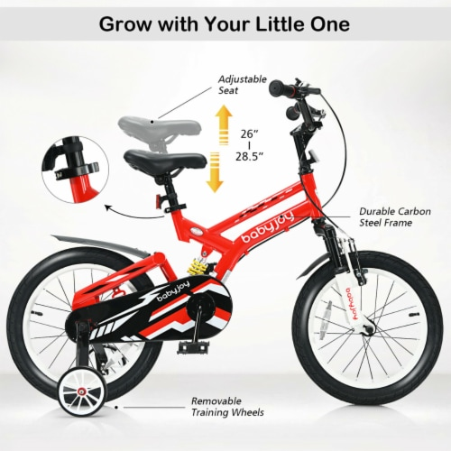 Gymax 16'' Kids Bike Toddlers Adjustable Freestyle Bicycle w/ Training Wheels Perspective: left