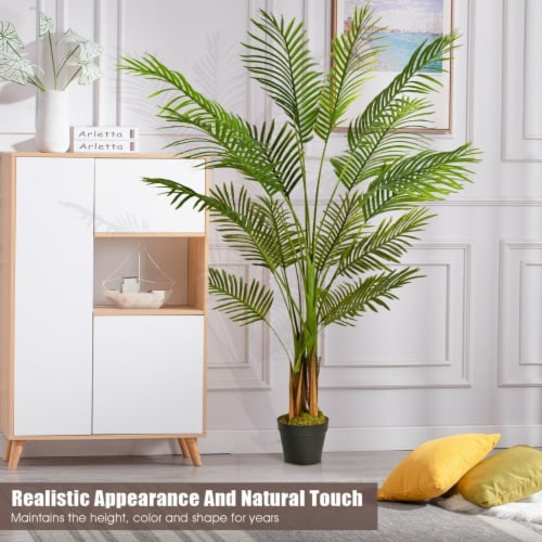 Gymax 5Ft Artificial Phoenix Palm Tree Plant for Indoor Home Office Decoration Perspective: left