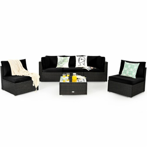 Gymax 6PCS Rattan Outdoor Sectional Sofa Set Patio Furniture Set w/ Black Cushions Perspective: left