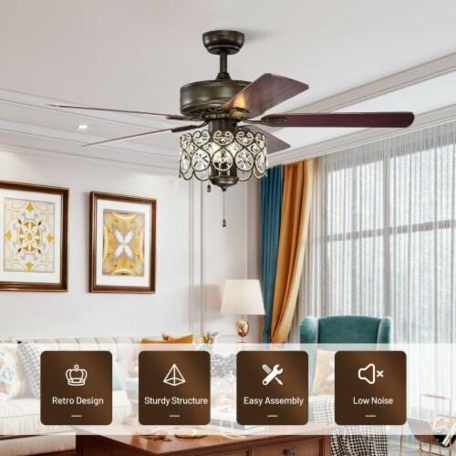 Gymax 52'' Ceiling Fan W/ Light Retro Crystal Chandelier Ceiling Fan 5 Reversible Fan Perspective: left