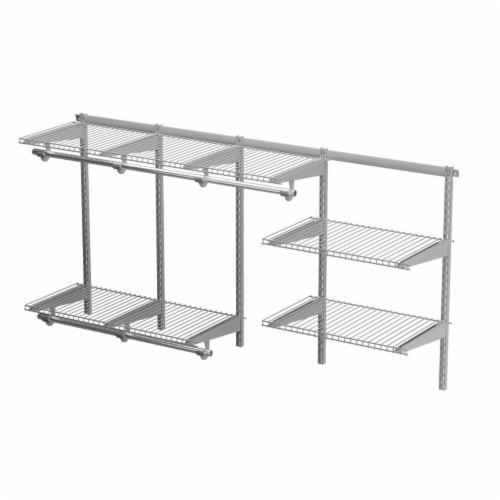 Gymax Custom Closet Organizer Kit 3 to 6 FT Wall-mounted Closet System w/Hang Rod Grey Perspective: left