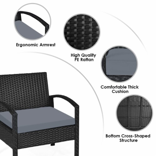 Gymax 3PCS Patio Rattan Conversation Furniture Set Outdoor Yard w/ Grey Cushions Perspective: left