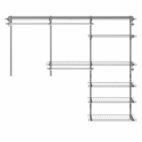Gymax Custom Closet Organizer Kit 4 to 6 FT Wall-mounted Closet System w/Hang Rod Grey Perspective: left