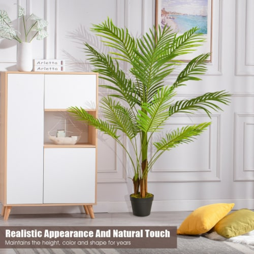 Gymax 4.3Ft Artificial Phoenix Palm Tree Plant for Indoor Home Office Store Perspective: left