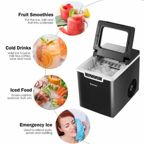 Costway Ice Maker Machine Countertop 26Lbs/24H Portable W/Scoop & Basket Black Perspective: left