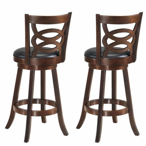 Costway Set of 2 Bar Stools 29'' Height Wooden Swivel Backed Dining Chair Home Kitchen Perspective: left