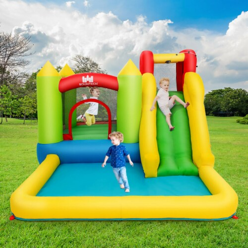 Gymax Outdoor Inflatable Bounce House Water Slide Climb Bouncer Pool Perspective: left