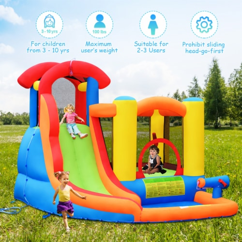 Costway Inflatable Bounce House Kid Water Splash Pool Slide Jumping Castle w/740W Blower Perspective: left