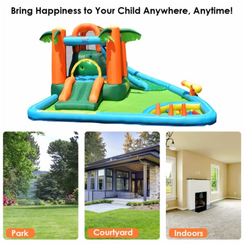 Costway Inflatable Bounce House Kids Water Splash Pool Dual Slide Jumping Castle w/ Bag Perspective: left