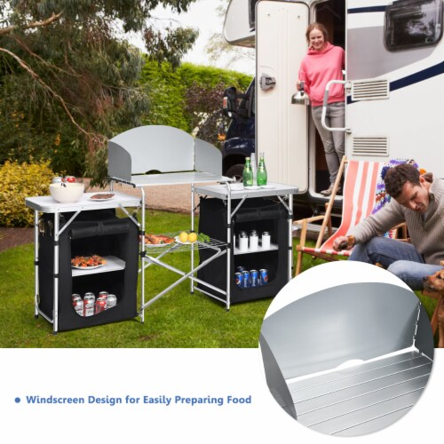 Goplus Folding Portable Aluminum Camping Grill Table w/ Storage Organizer Windscreen Perspective: left