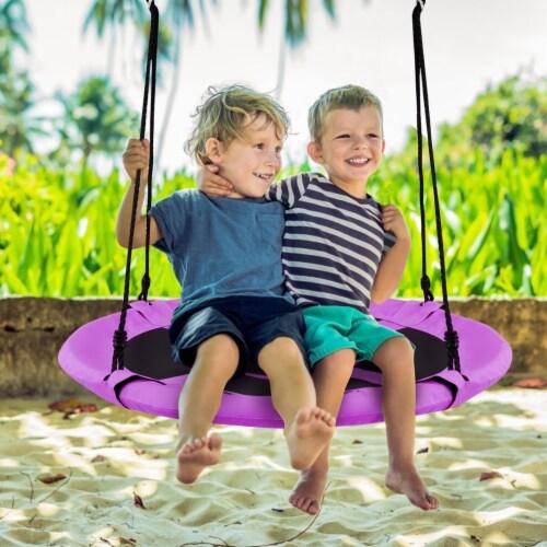 Costway 40'' Flying Saucer Tree Swing Indoor Outdoor Play Set Kids Christmas Gift Purple Perspective: left