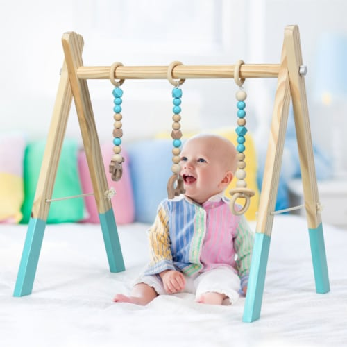 Foldable Wooden Baby Gym with 3 Wooden Baby Teething Toys Hanging Bar Green Perspective: left