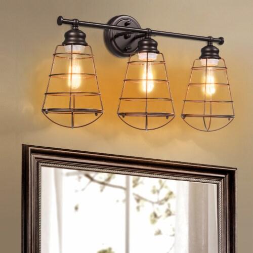 Costway 3-Light Vanity Light Metal Wire Cage Wall Sconce Bathroom Fixture Artist Lamp Perspective: left