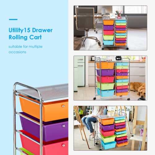 Costway 15 Drawer Rolling Storage Cart Storage Rolling Carts Drawers Perspective: left