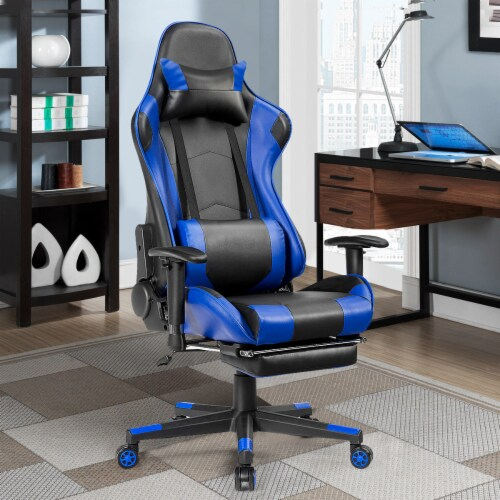 Costway Gaming Recliner Racing Chair w/ Lumbar Support & Footrest Blue Perspective: left