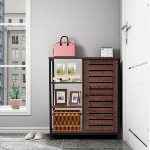 Costway Industrial Bathroom Storage Cabinet Free Standing Cabinet W/3 Shelves Perspective: left