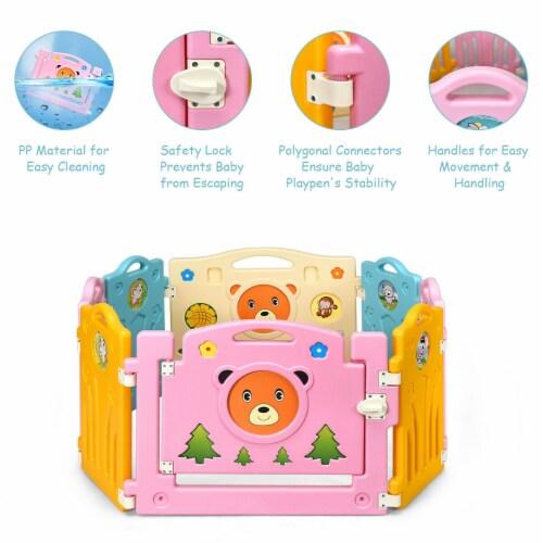 Costway 8 Panel Kids Baby Playpen Activity Center Safety Play Yard Home Indoor Outdoor Perspective: left