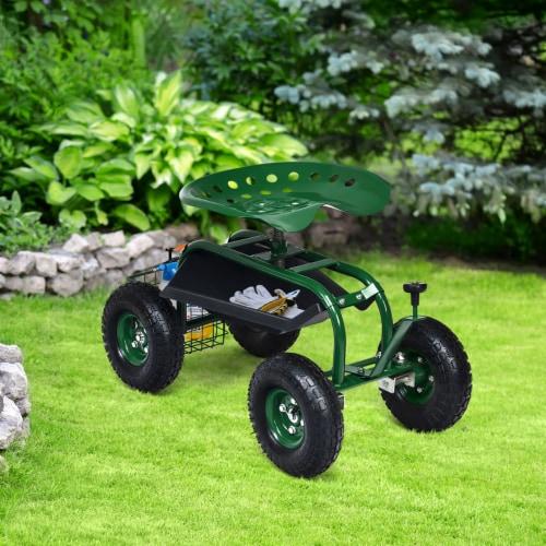 Costway Garden Cart Rolling Work Seat w/ Tool Tray Basket Green Perspective: left