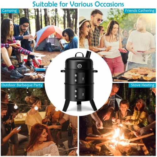 Costway 3-in-1 Portable Round Charcoal Smoker Vertical BBQ Grill Built-in Thermometer Perspective: left