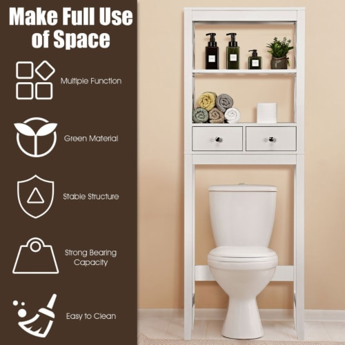 Costway Over The Toilet Space Saver Bathroom Organizer Storage Shelf w/ 2 Drawers White Perspective: left