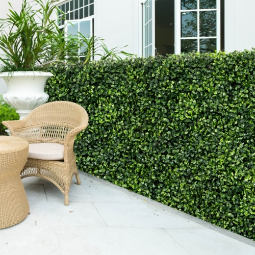 Costway 12 PCS 20''x20'' Artificial Boxwood Plant Wall Panel Hedge Privacy Fence Perspective: left