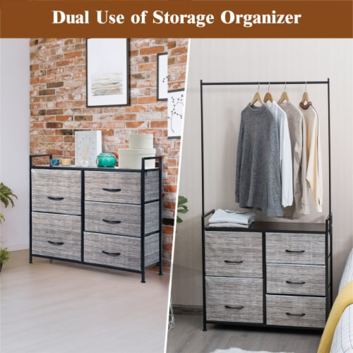 Costway 5 Drawer Fabric Dresser Hanger Metal Frame Wooden Top Storage Closet Organizer Perspective: left