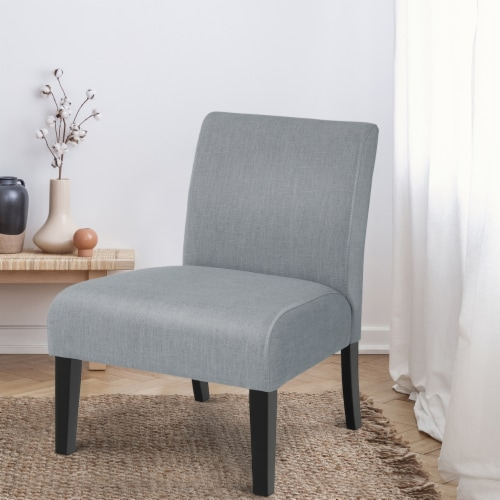 Costway Armless Accent Chair Fabric Leisure Chair Single Sofa w/Rubber Wood Legs Gray Perspective: left