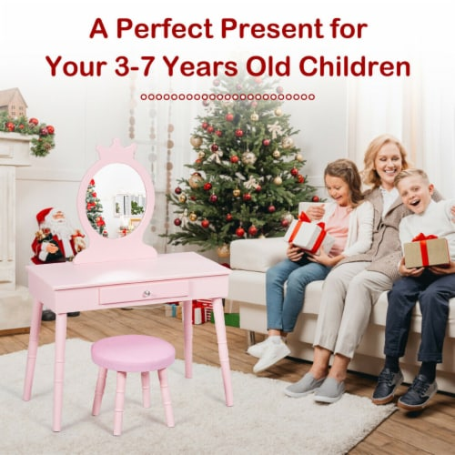 Gymax Kids Vanity Makeup Table & Chair Set Make Up Stool Play Set for Children Pink Perspective: left