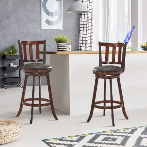 Costway Set of 2 29.5'' Swivel Bar stool Leather Padded Dining Kitchen Pub Bistro Chair High Perspective: left
