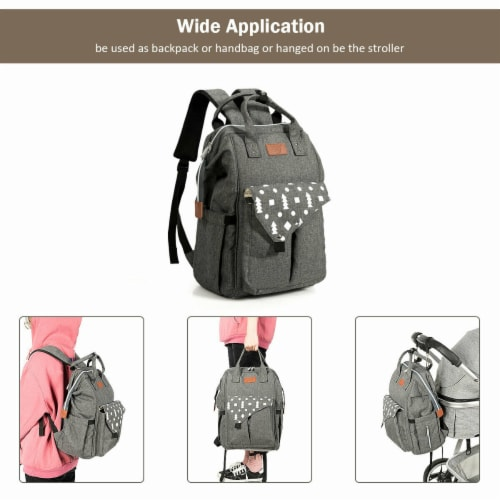 Gymax Diaper Bag Waterproof Baby Nappy Backpack w/USB Charging Port Perspective: left