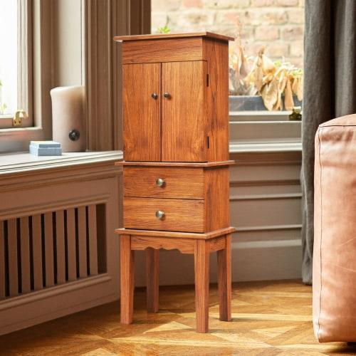 Costway Vintage Jewelry Cabinet Chest Storage Organizer Drawers&Mirror Perspective: left