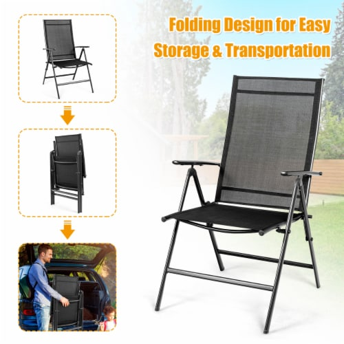 Costway 4PCS Patio Folding Dining Chair Recliner Adjustable Black Perspective: left