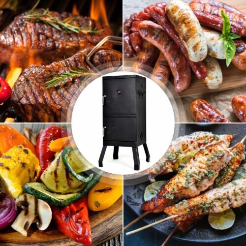 Costway Vertical Charcoal Smoker BBQ Barbecue Grill w/ Temperature Gauge Outdoor Black Perspective: left