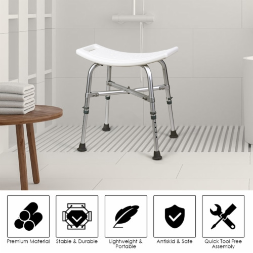 Costway Shower Chair Bath Stool 6 Adjustable Height Bathtub Seat Transfer Bench Non-Slip Perspective: left