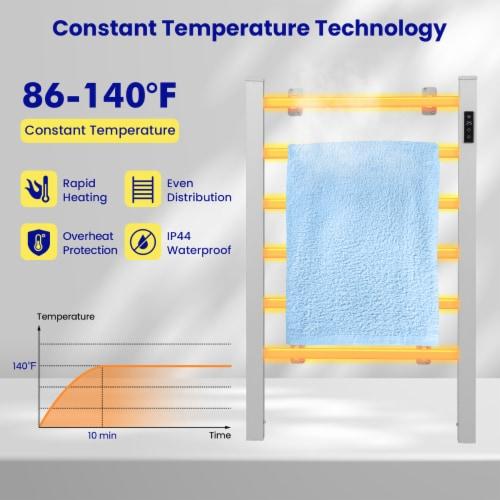 Costway Freestanding Wall Mounted Electric Towel Rail Rack Bathroom Warmer Heated Perspective: left