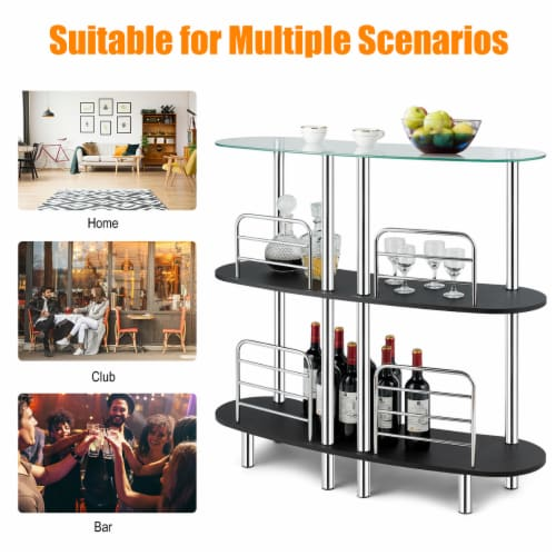 Costway Bar Table Wine Storage Home Liquor Pub Table w/Tempered Glass Top & 2 Shelves Perspective: left