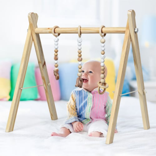 Foldable Wooden Baby Gym with 3 Wooden Baby Teething Toys Hanging Bar Natural Perspective: left