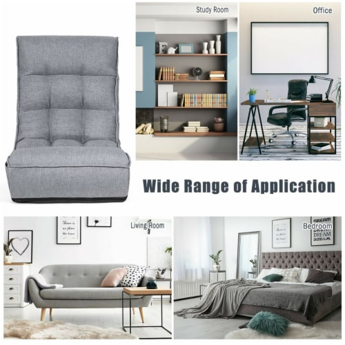Costway 4-Position Floor Chair Folding Lazy Sofa w/Adjustable Backrest& Headrest Gray Perspective: left