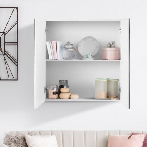 Costway Bathroom Cabinet Medicine Cabinet Wall Mount Double Door with Shelf and Mirror Perspective: left